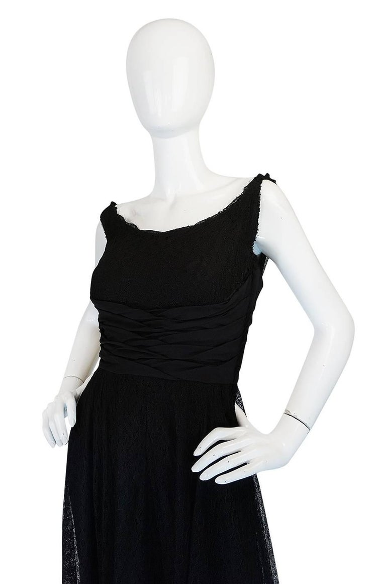 1950s Ceil Chapman Little Black Lace Overlay Dress For Sale 1