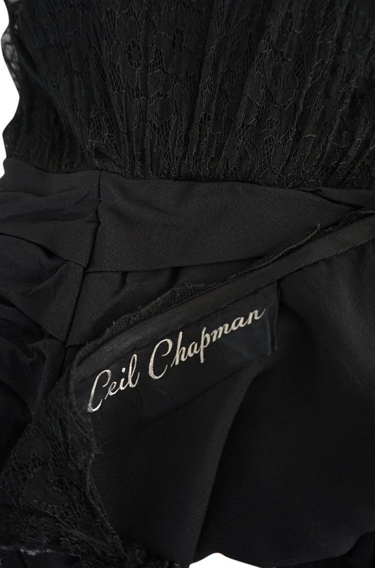 1950s Ceil Chapman Little Black Lace Overlay Dress For Sale 4
