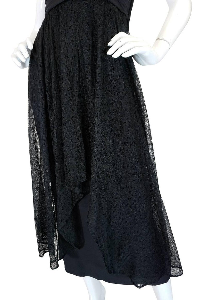 1950s Ceil Chapman Little Black Lace Overlay Dress For Sale 3