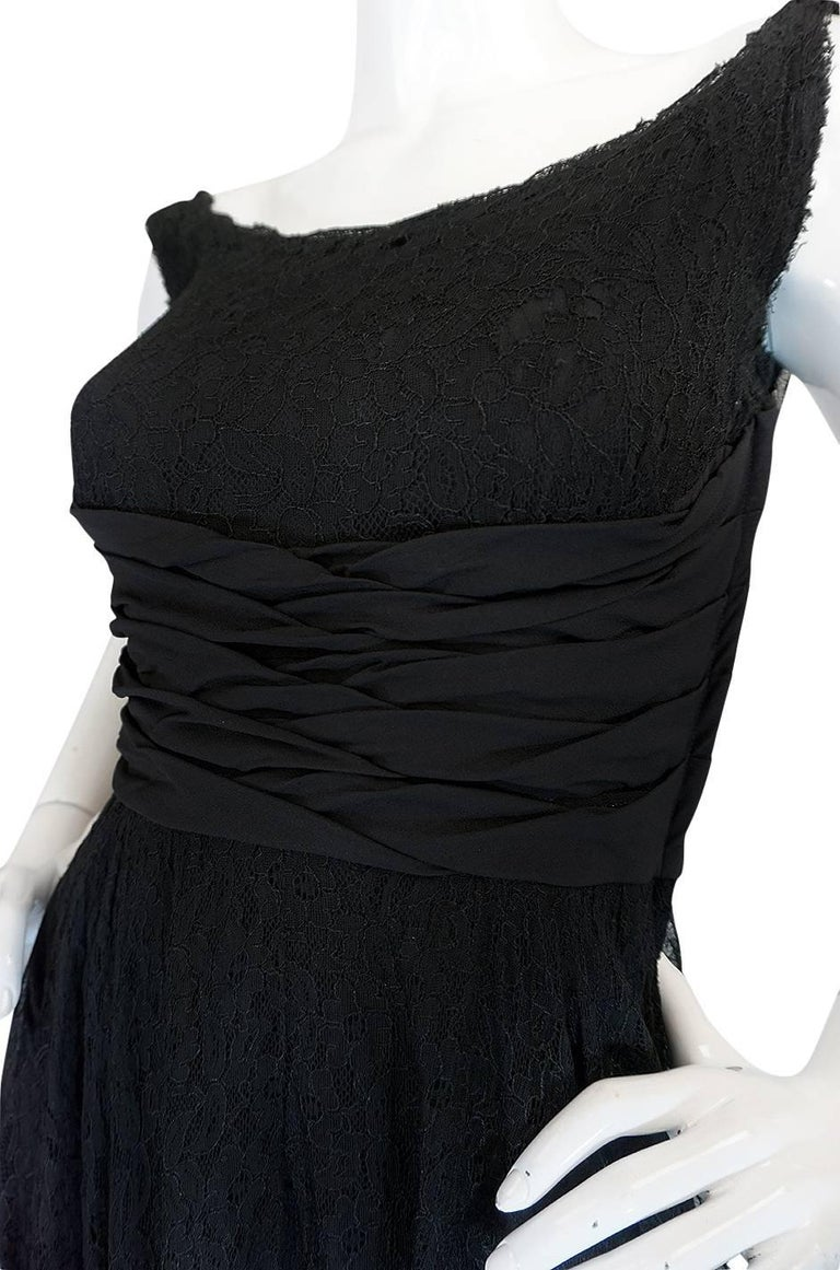 1950s Ceil Chapman Little Black Lace Overlay Dress For Sale 2