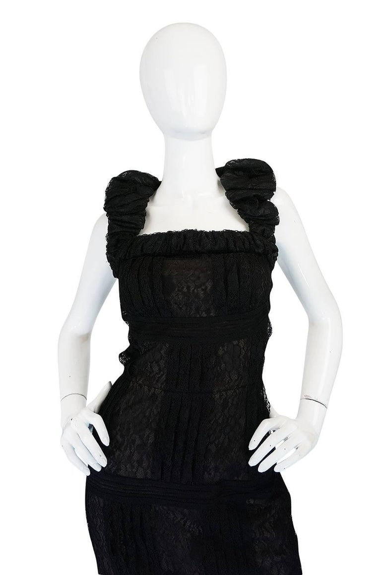 Women's Chanel Resort Runway Elaborate Black Lace Dress, 2009  For Sale