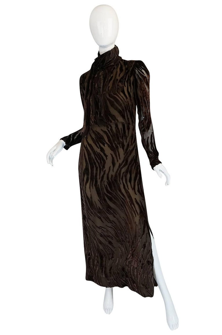 Black 1970s Pauline Trigere Fused Velvet & Chocolate Silk Chiffon Dress For Sale
