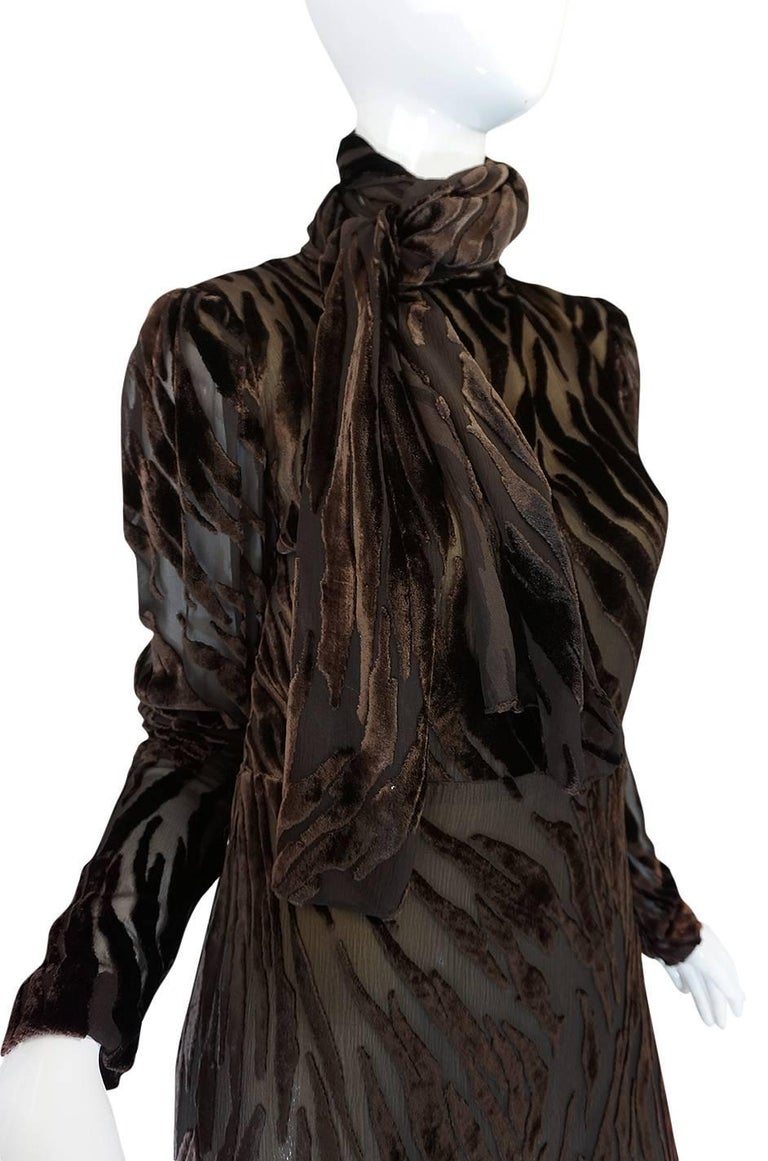 1970s Pauline Trigere Fused Velvet & Chocolate Silk Chiffon Dress For Sale 2
