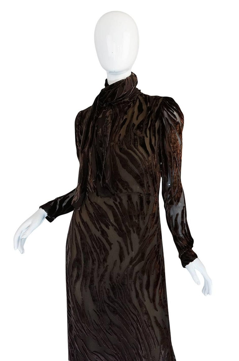 Women's 1970s Pauline Trigere Fused Velvet & Chocolate Silk Chiffon Dress For Sale