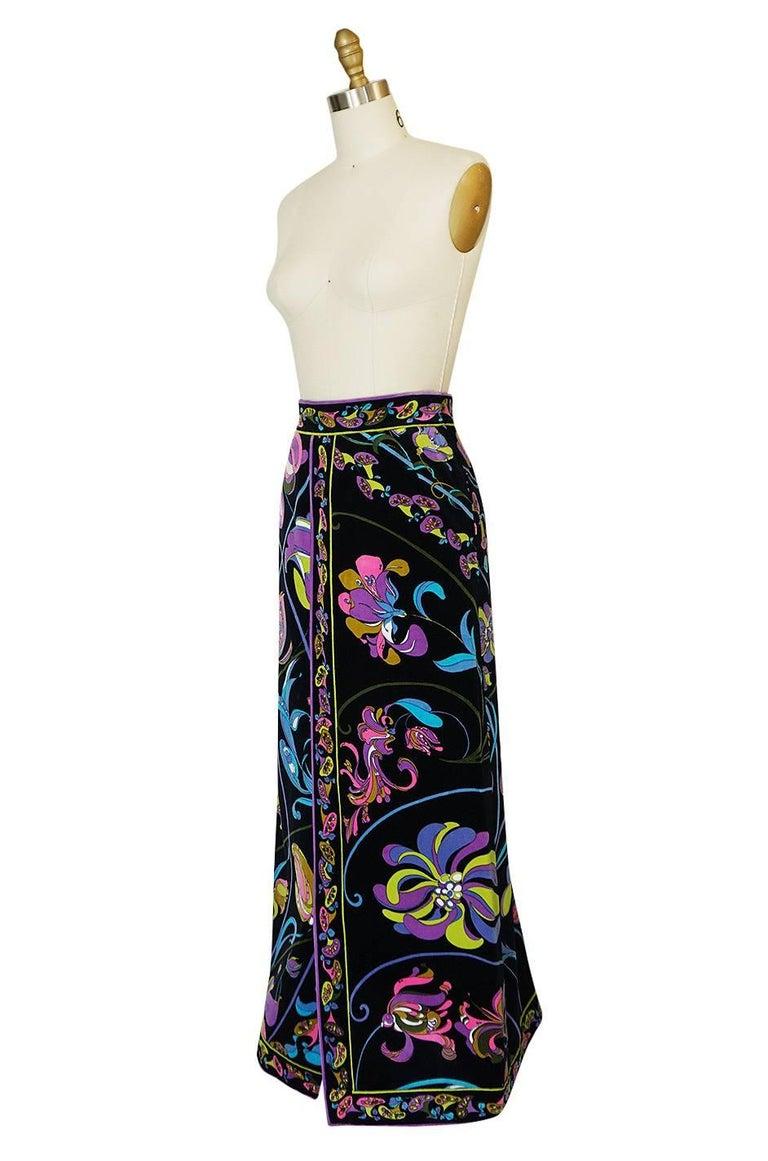 1960s Emilio Pucci Black Velvet With Vivid Floral Print Skirt For Sale 1