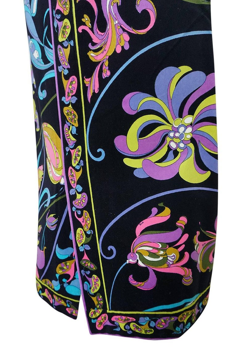 1960s Emilio Pucci Black Velvet With Vivid Floral Print Skirt For Sale 3