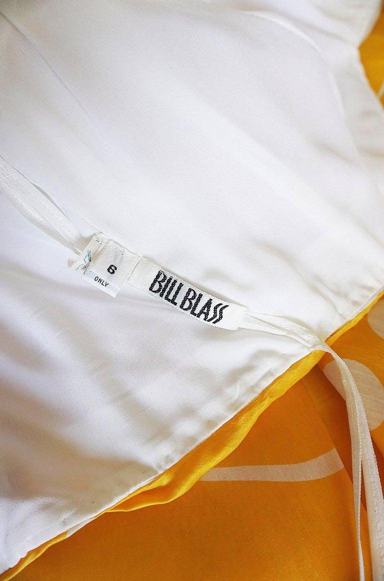 1970s Bill Blass Deep Marigold Dot Printed Silk Strapless Dress 9