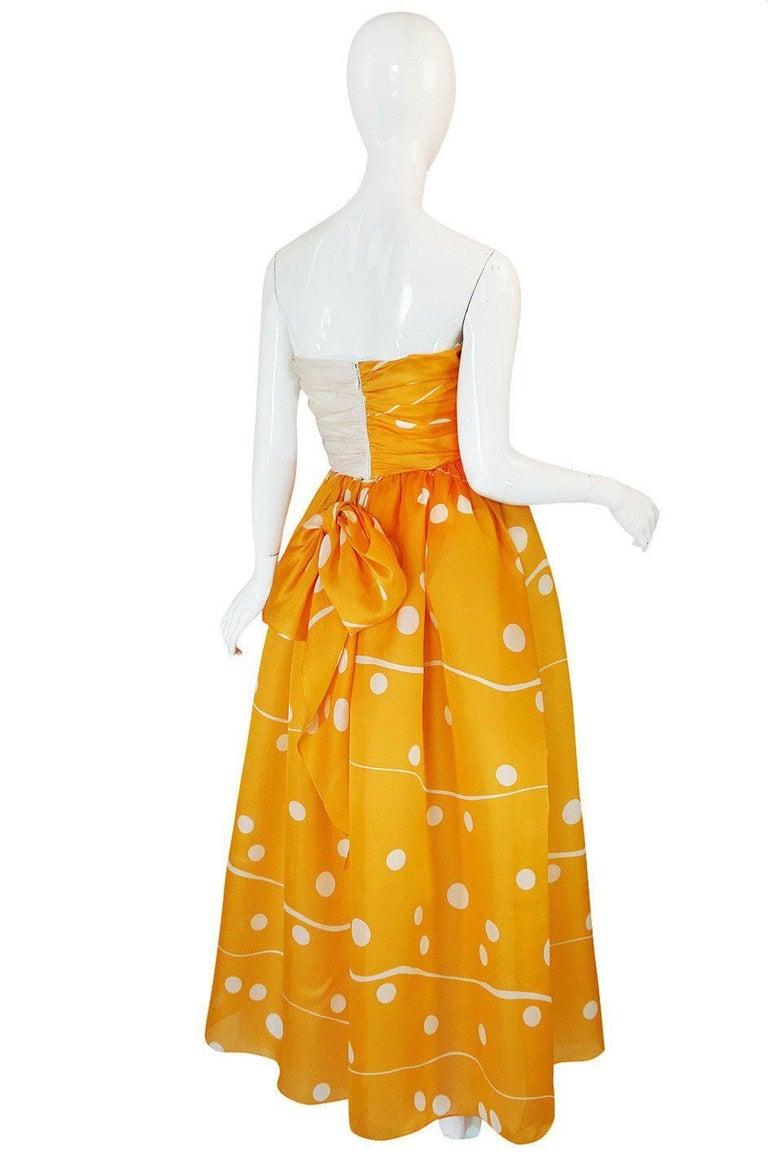 1970s Bill Blass Deep Marigold Dot Printed Silk Strapless Dress 2