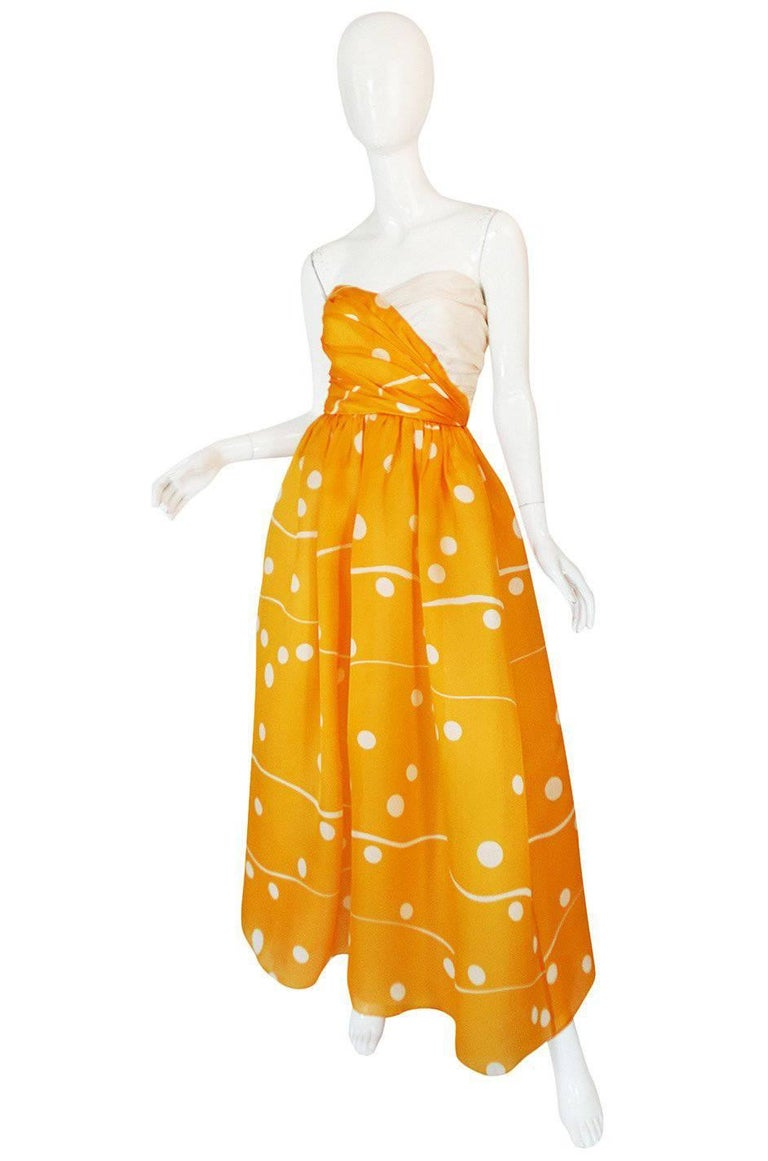 Orange Documented 1985 Bill Blass Dotted Strapless Yellow Silk Dress For Sale