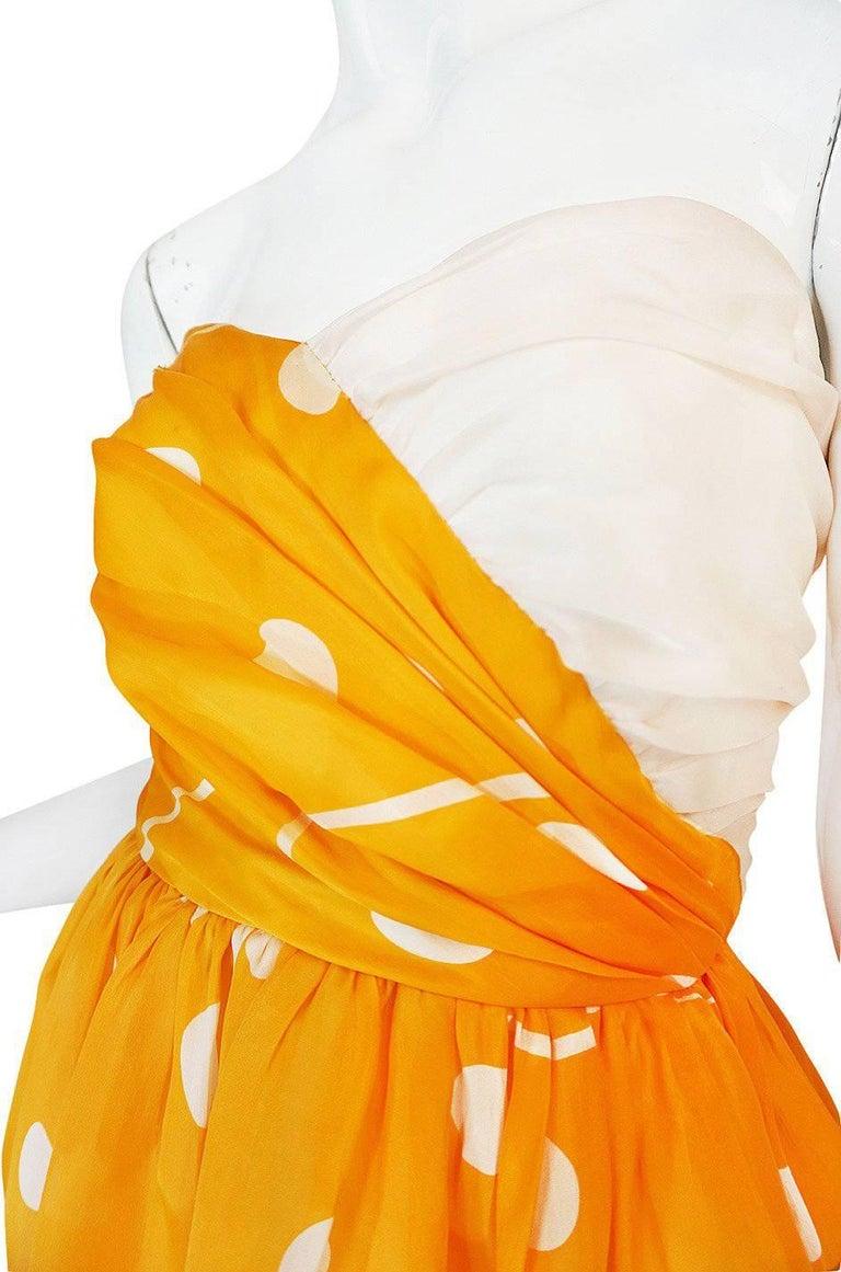 1970s Bill Blass Deep Marigold Dot Printed Silk Strapless Dress 7