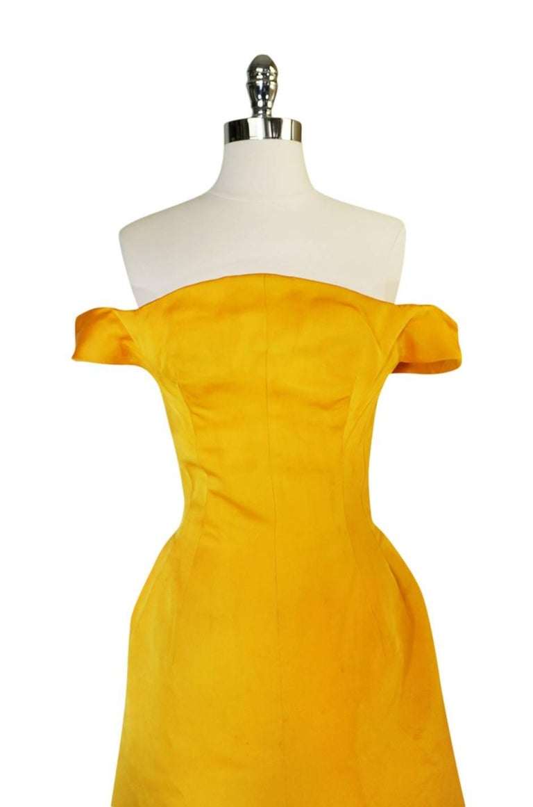 Orange Balenciaga Haute Couture Book Piece Silk Sculpted Gown, 1962  For Sale