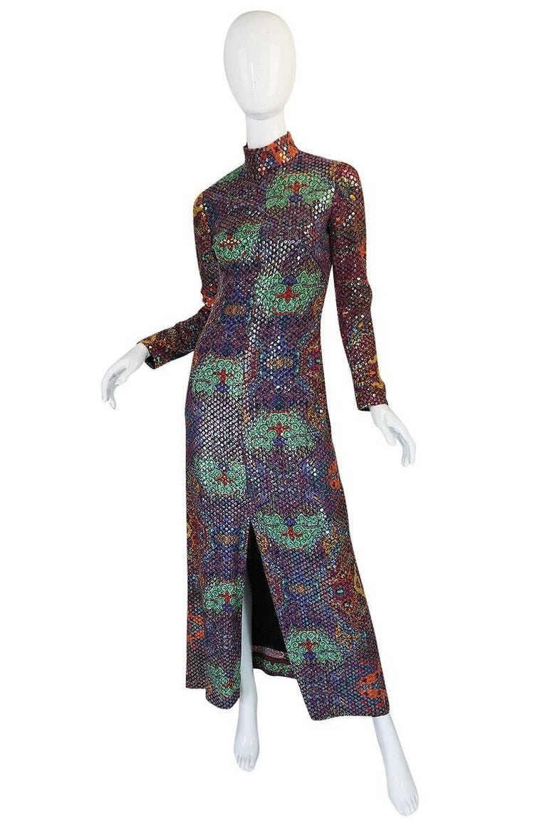 Black Documented 1971 Malcolm Starr Sequin Covered Dress For Sale