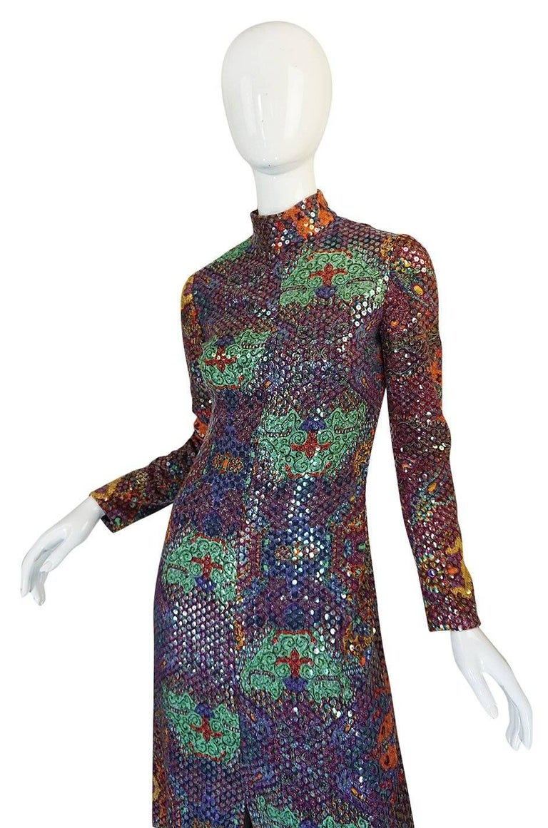 Women's Documented 1971 Malcolm Starr Sequin Covered Dress For Sale