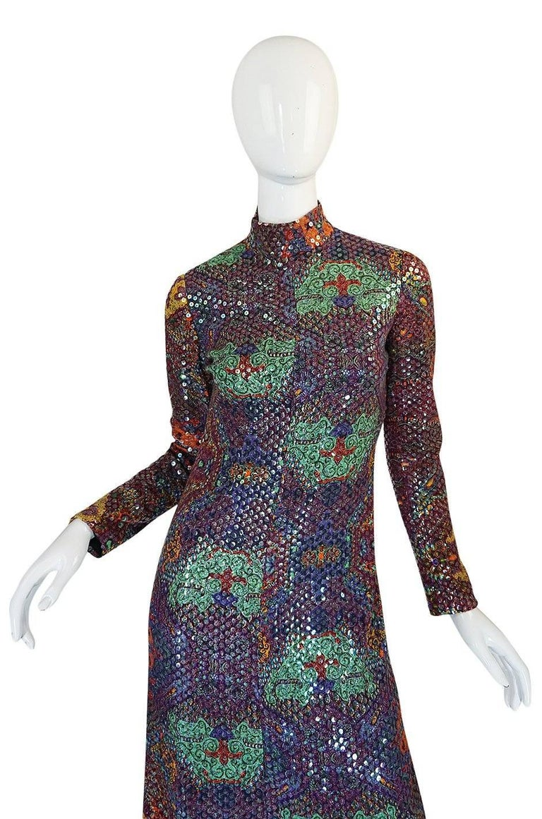 Documented 1971 Malcolm Starr Sequin Covered Dress In Excellent Condition For Sale In Rockwood, ON
