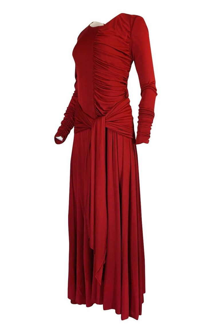 1980s Karl Lagerfeld Red Silk Jersey Dress with Sash 3