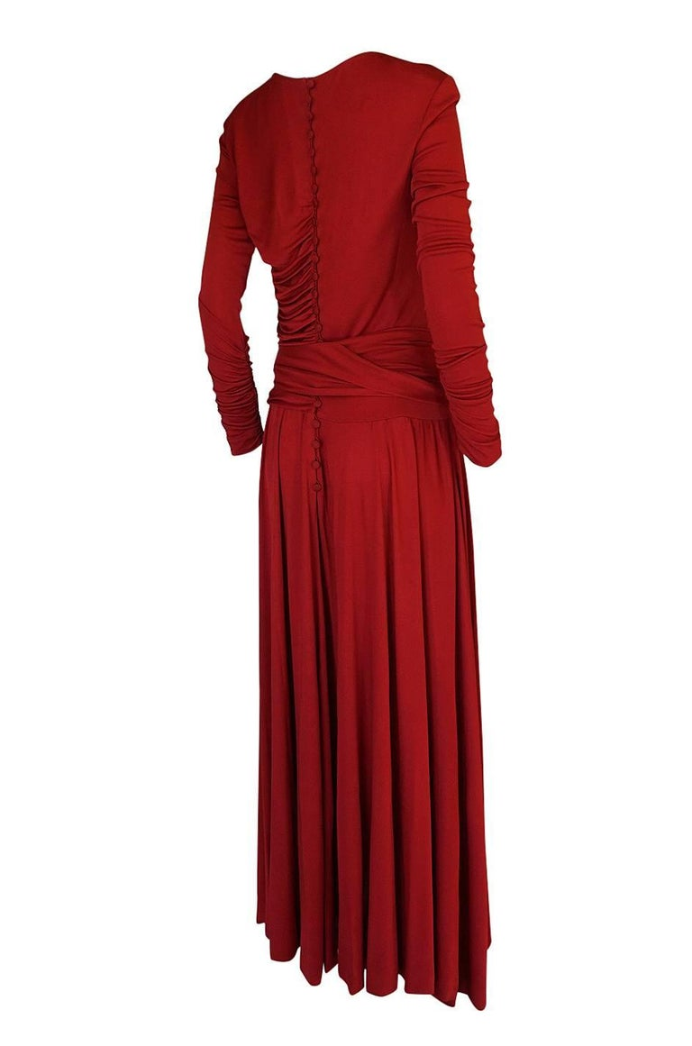 1980s Karl Lagerfeld Red Silk Jersey Dress with Sash 2