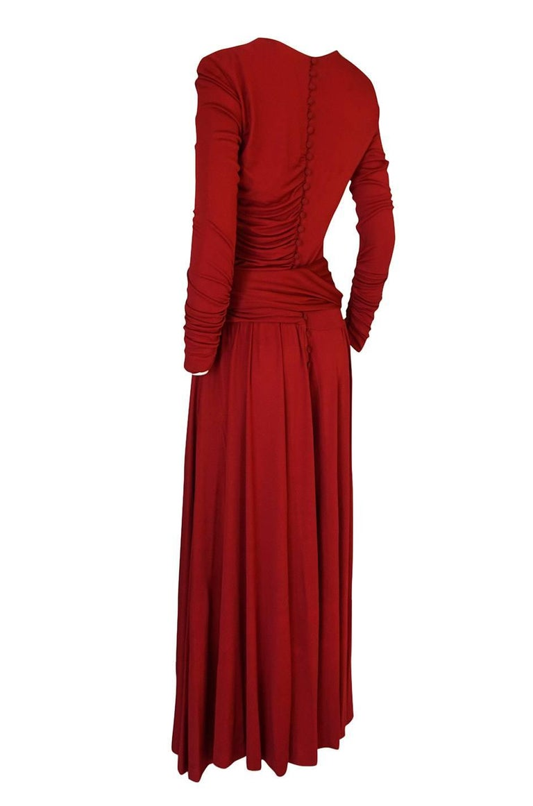 1980s Karl Lagerfeld Red Silk Jersey Dress with Sash 4