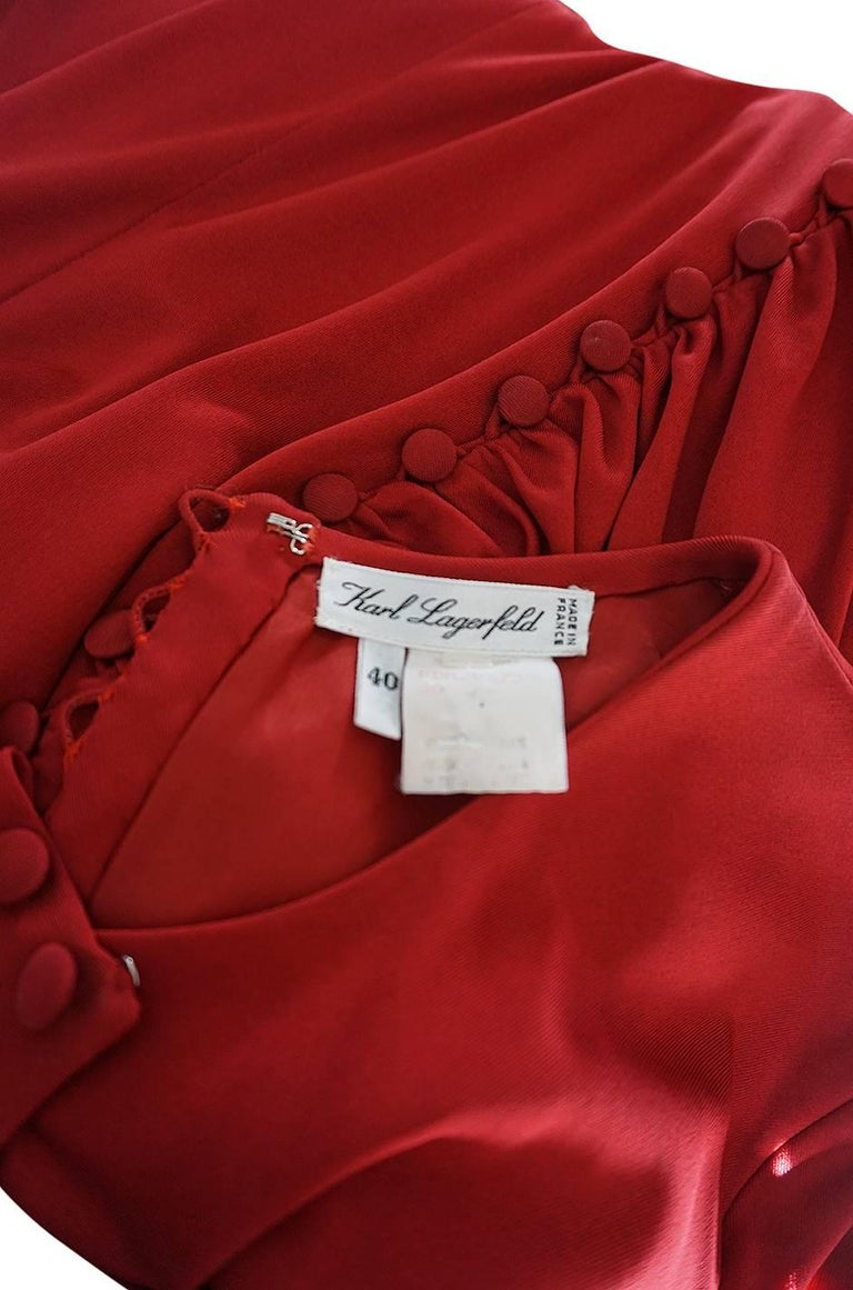 1980s Karl Lagerfeld Red Silk Jersey Dress with Sash 10