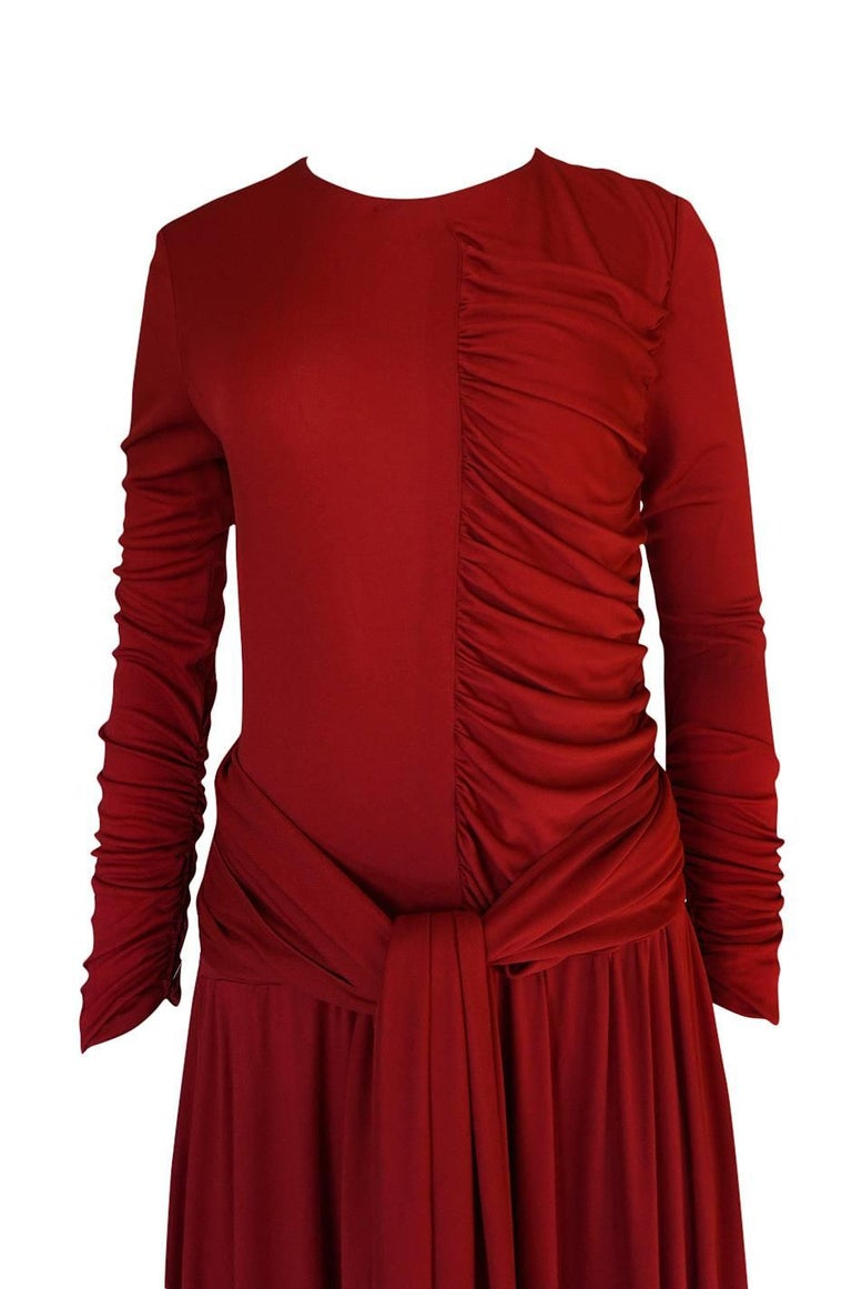 1980s Karl Lagerfeld Red Silk Jersey Dress with Sash 5