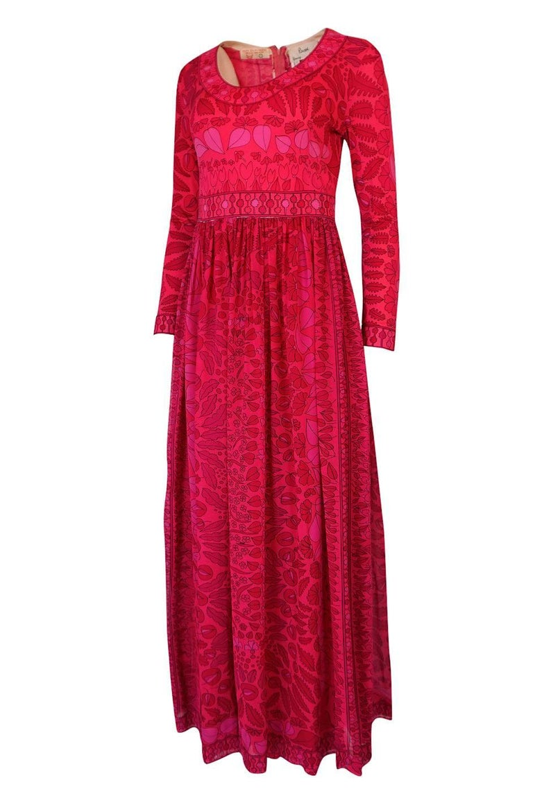 1960s Bessi Silk Jersey and Silk Chiffon Pink and Red Print Dress In Excellent Condition For Sale In Toronto, CA