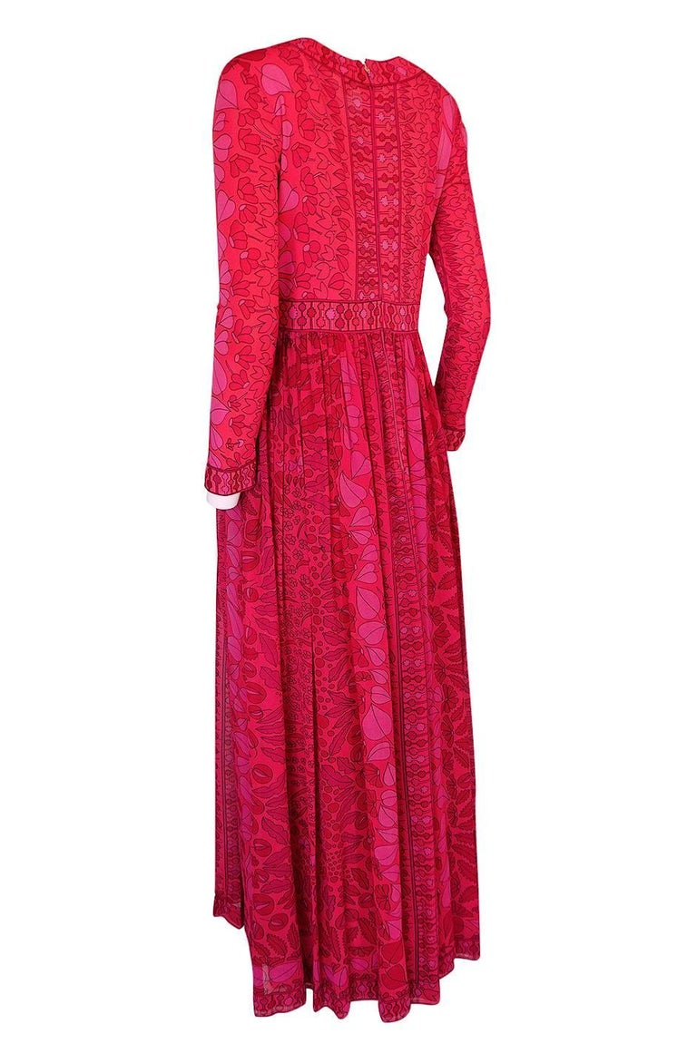 Women's 1960s Bessi Silk Jersey and Silk Chiffon Pink and Red Print Dress For Sale