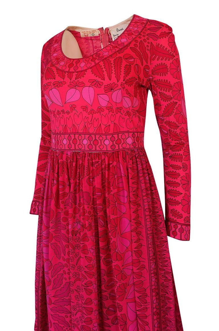 1960s Bessi Silk Jersey and Silk Chiffon Pink and Red Print Dress For Sale 2