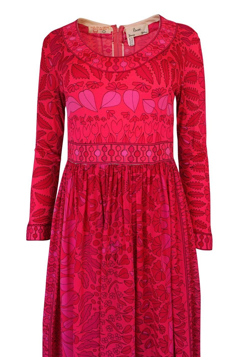 1960s Bessi Silk Jersey and Silk Chiffon Pink and Red Print Dress For Sale 1