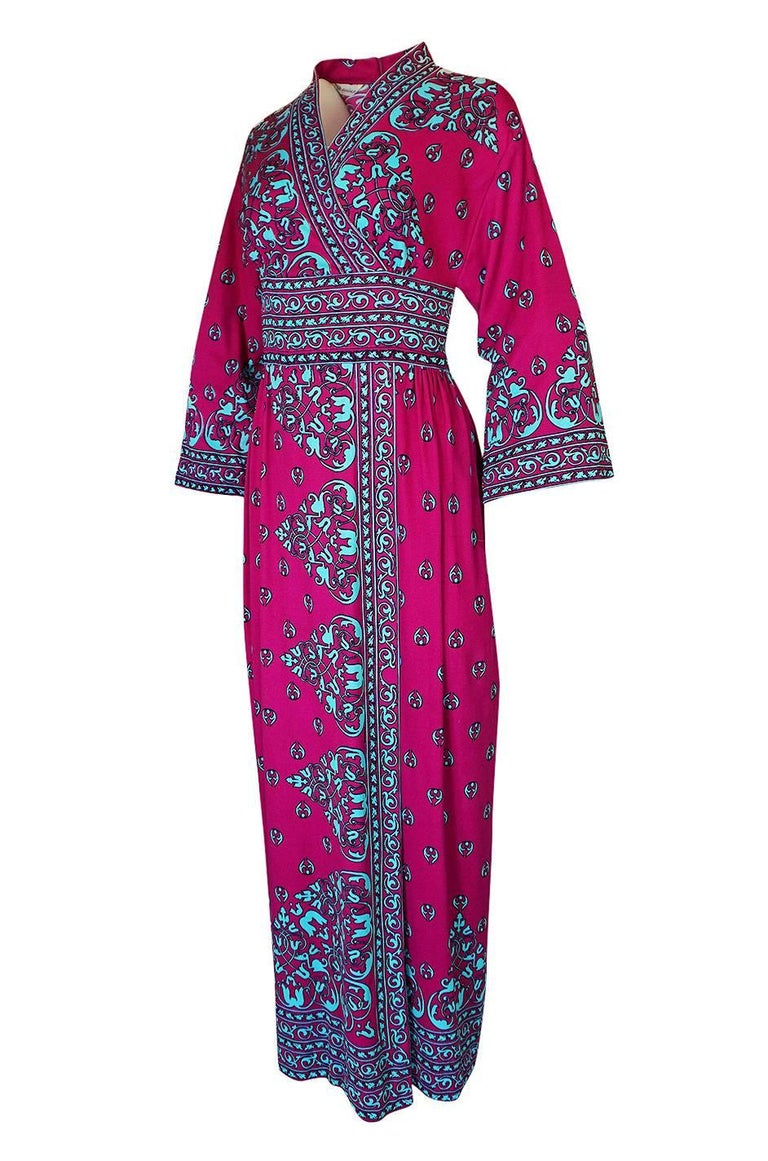 Women's 1970s Maurice Vivid Pink and Turquoise Jersey Caftan Dress For Sale