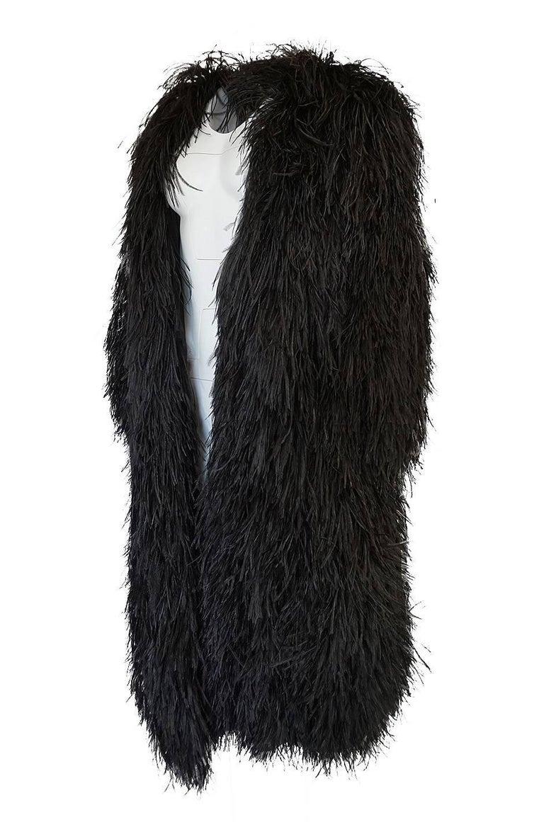 355eca4ae0a Yves Saint Laurent Black Ostrich Feather Coat circa 1970 For Sale 1