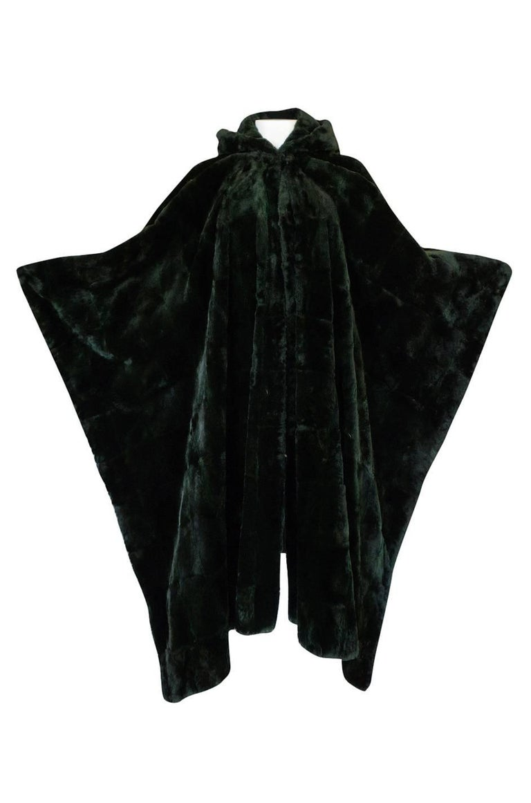 1970s Yves Saint Laurent Hooded Deep Green Shaved Fur Poncho For Sale 1