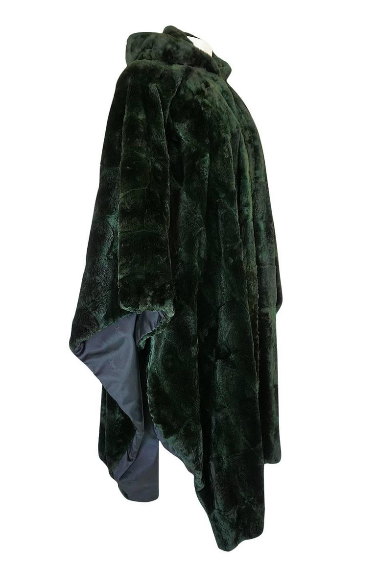 1970s Yves Saint Laurent Hooded Deep Green Shaved Fur Poncho In Excellent Condition For Sale In Rockwood, ON