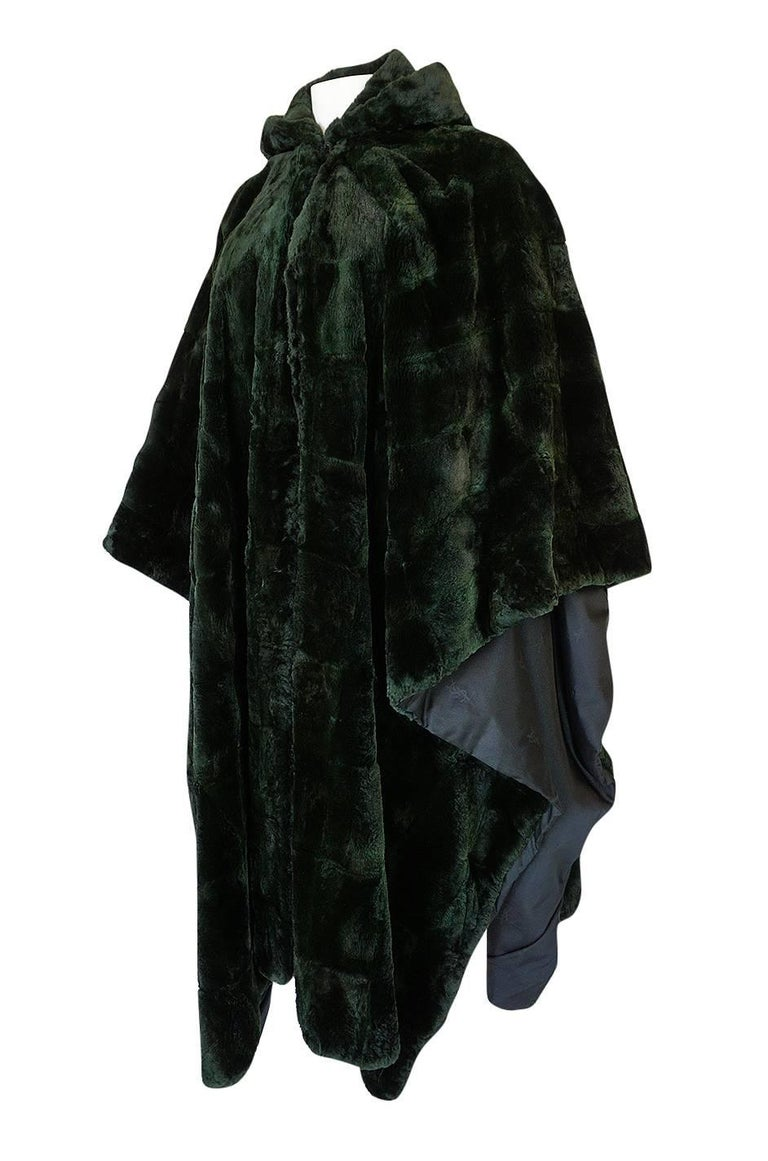 Women's 1970s Yves Saint Laurent Hooded Deep Green Shaved Fur Poncho For Sale