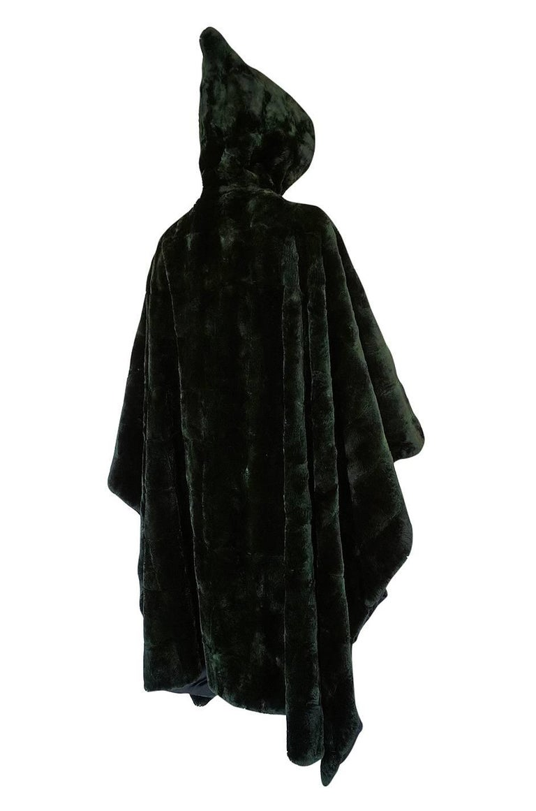 Black 1970s Yves Saint Laurent Hooded Deep Green Shaved Fur Poncho For Sale