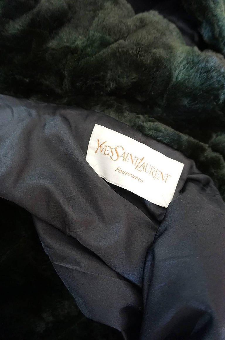 1970s Yves Saint Laurent Hooded Deep Green Shaved Fur Poncho For Sale 2