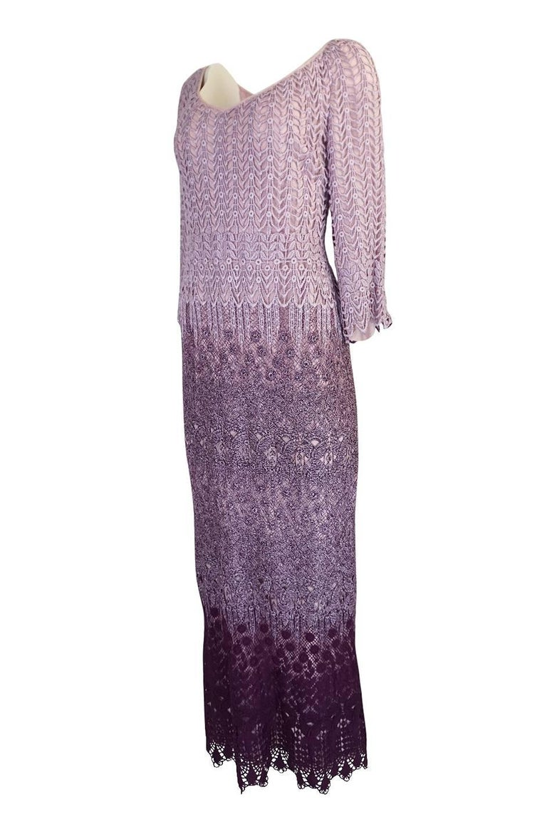 c1968-1970 Pierre Cardin Haute Couture Purple Guipure Dress In Excellent Condition For Sale In Toronto, ON