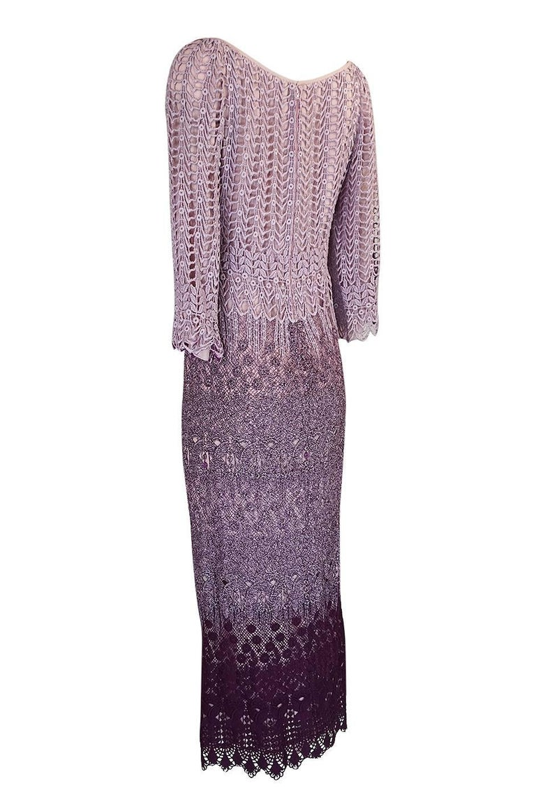 Women's c1968-1970 Pierre Cardin Haute Couture Purple Guipure Dress For Sale