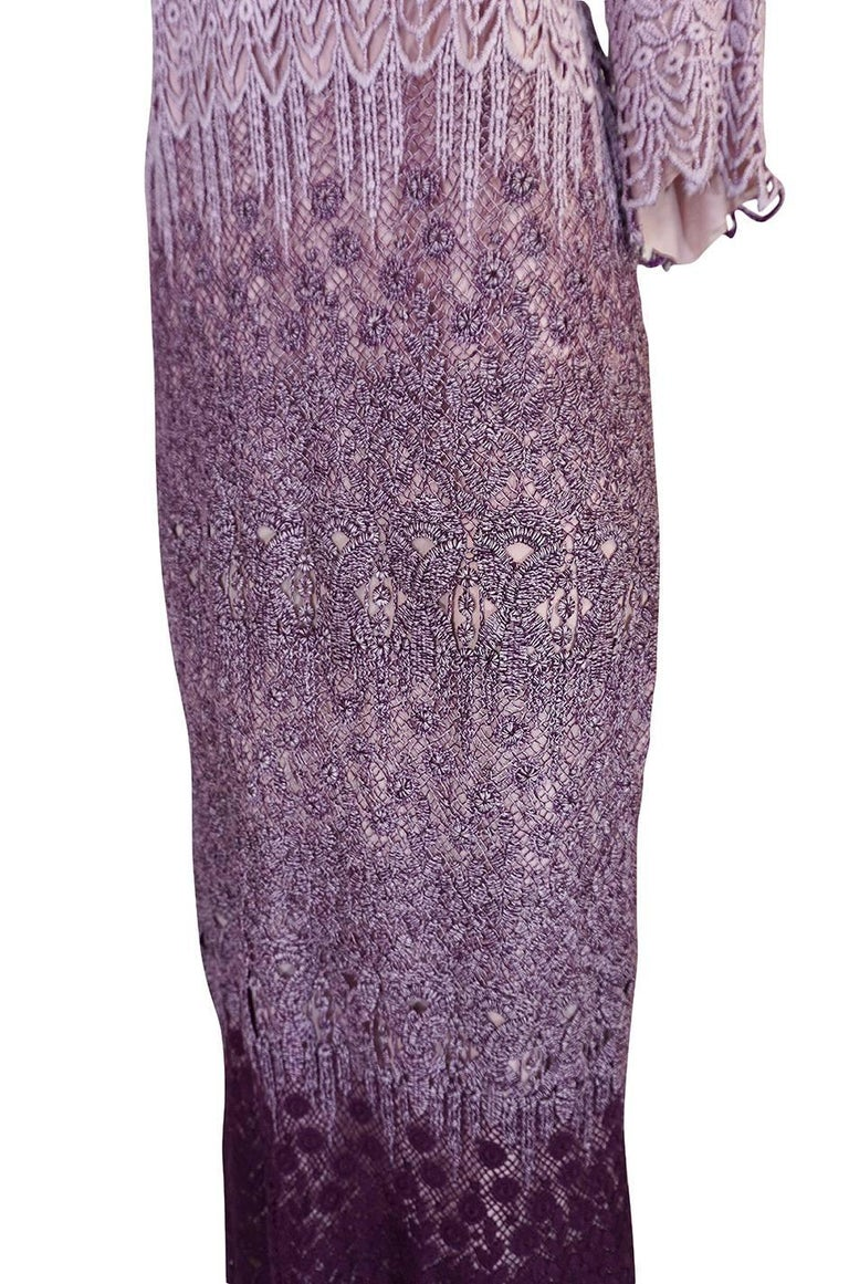 c1968-1970 Pierre Cardin Haute Couture Purple Guipure Dress For Sale 3