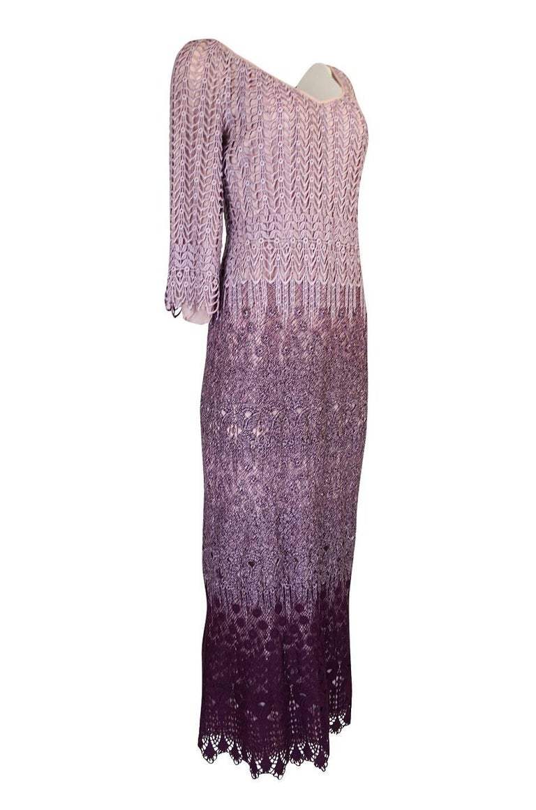 Gray c1968-1970 Pierre Cardin Haute Couture Purple Guipure Dress For Sale