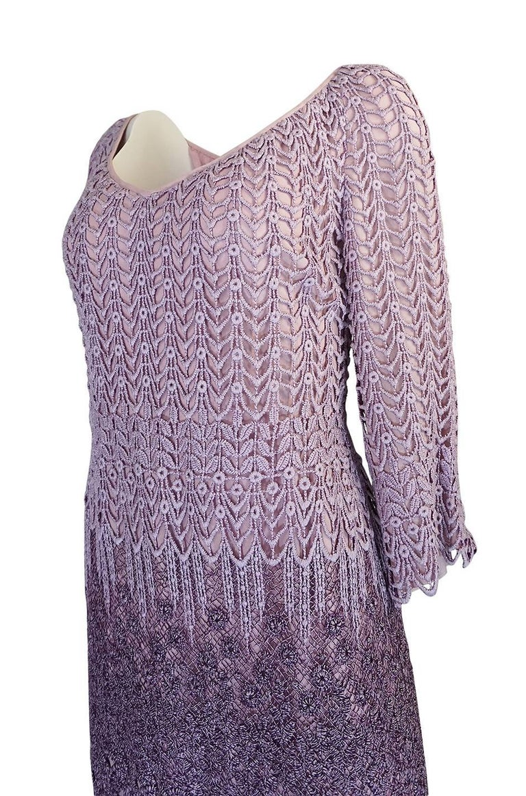 c1968-1970 Pierre Cardin Haute Couture Purple Guipure Dress For Sale 1
