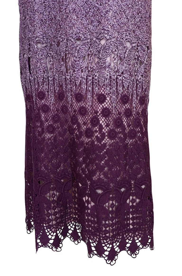 c1968-1970 Pierre Cardin Haute Couture Purple Guipure Dress For Sale 4