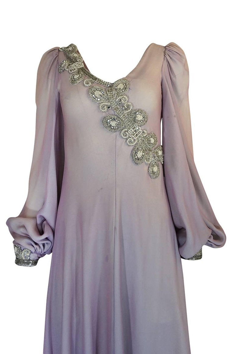 1970s Stavropoulos Couture Layered Bias Cut Silk Chiiffon Dress In Good Condition For Sale In Toronto, ON
