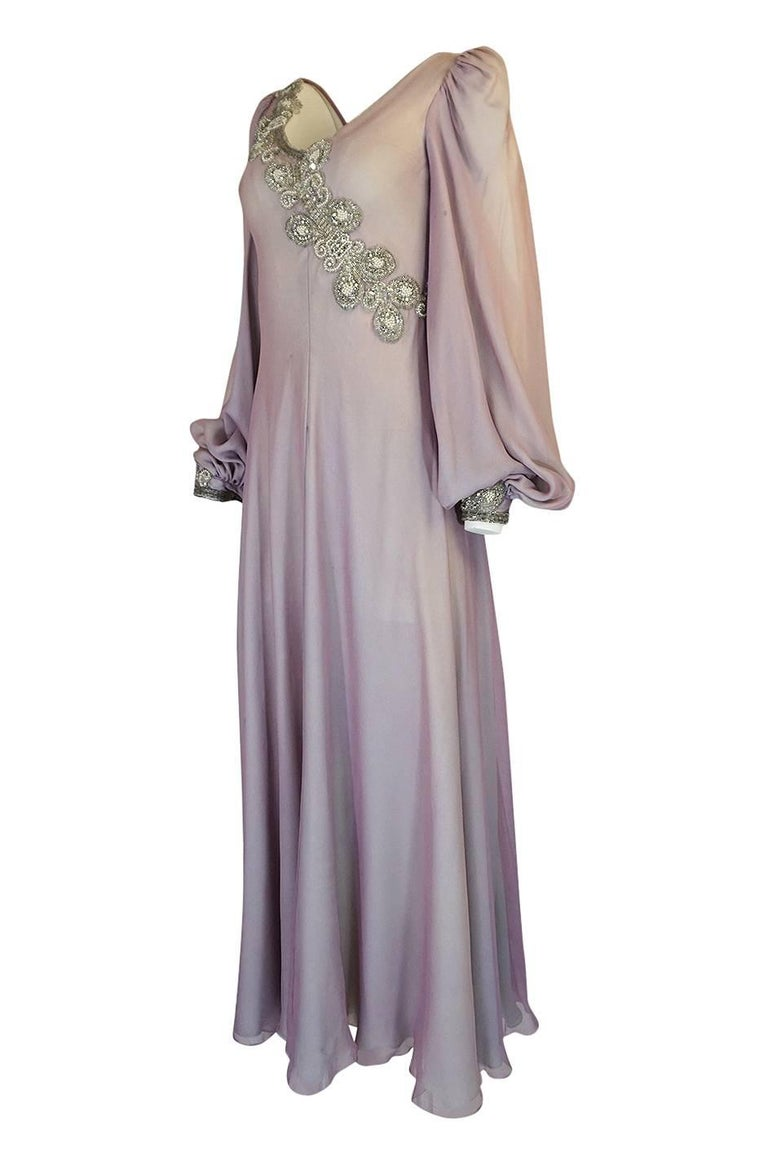 Gray 1970s Stavropoulos Couture Layered Bias Cut Silk Chiiffon Dress For Sale