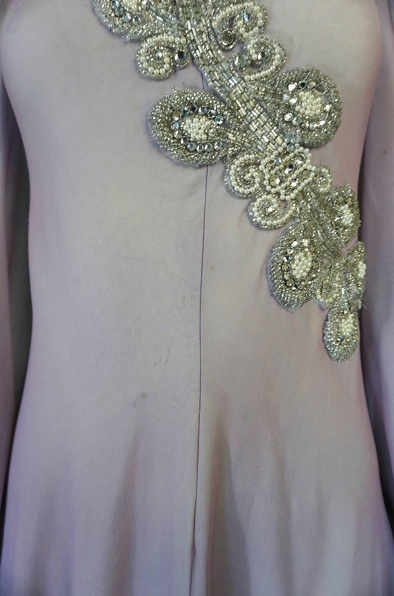 1970s Stavropoulos Couture Layered Bias Cut Silk Chiiffon Dress For Sale 3