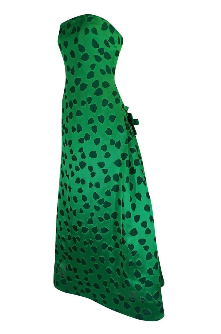 c1984 Arnold Scaasi Heart Covered Emerald Green Strapless Dress For Sale 1
