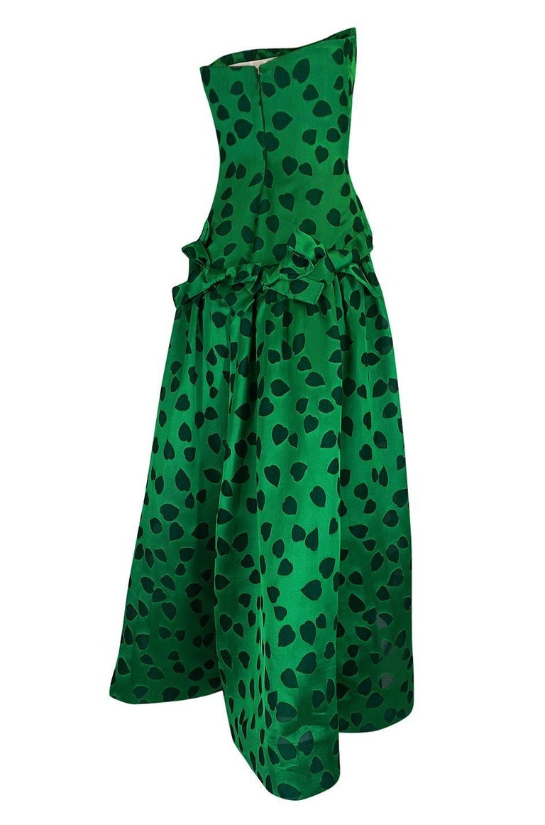 This dress is by Arnold Scassi and it has the most wonderful and romantic fabric choice. Scaasi worked under Charles James at the start of his career and many of his gowns reflect this early influence. His boutique line was launched in 1984 and was