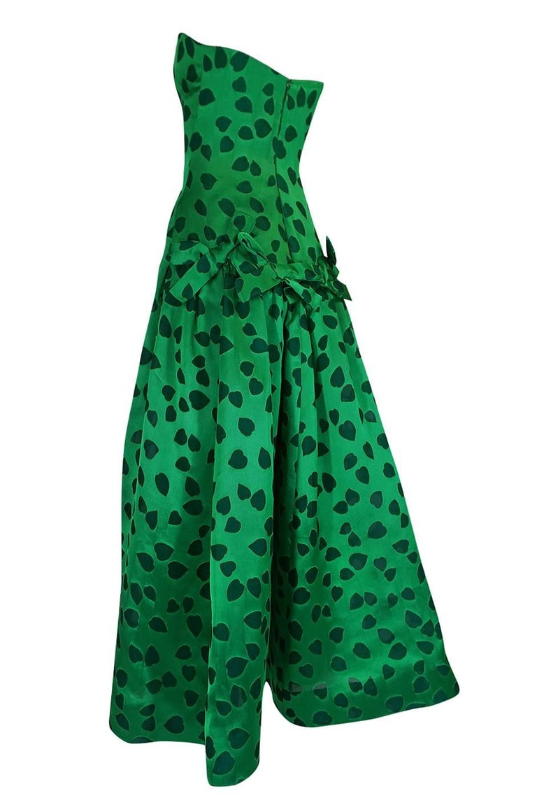 Women's c1984 Arnold Scaasi Heart Covered Emerald Green Strapless Dress For Sale
