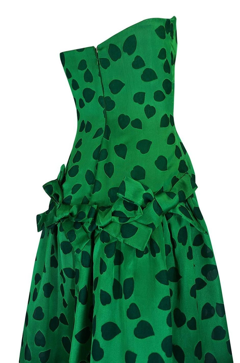 c1984 Arnold Scaasi Heart Covered Emerald Green Strapless Dress For Sale 4