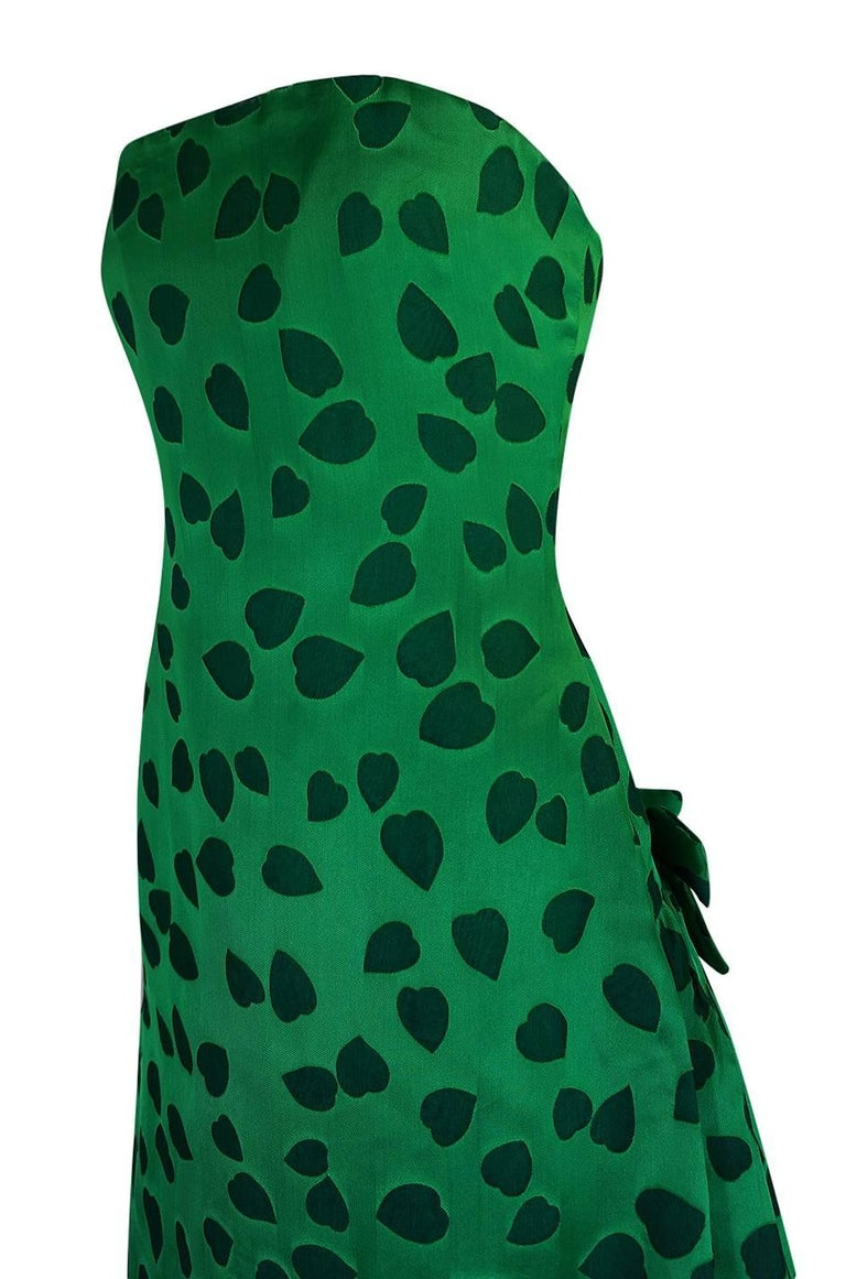 c1984 Arnold Scaasi Heart Covered Emerald Green Strapless Dress For Sale 3