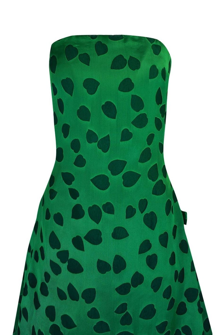c1984 Arnold Scaasi Heart Covered Emerald Green Strapless Dress For Sale 2