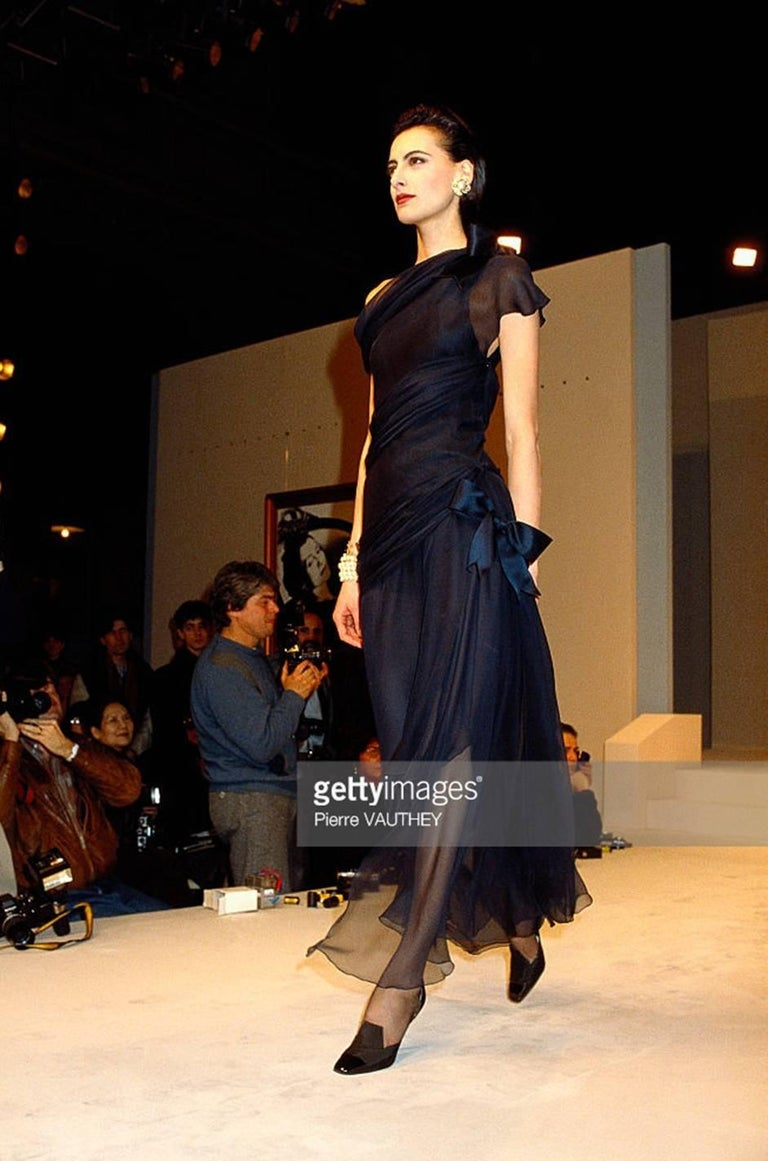 s/s 1987 Chanel Fitted Strapless Dress w Layered Silk Ribbon Detail For Sale 5